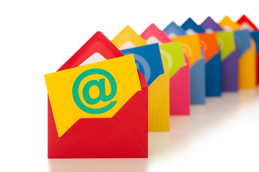 email symbol on row of colourful envelopes emailing professionale