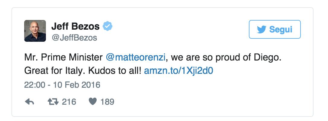 Jeff Bezos Renzi Piacentini tweet