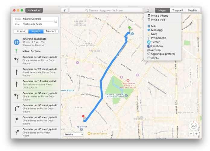 mappe condividere un itinerario da Mac a iPhone