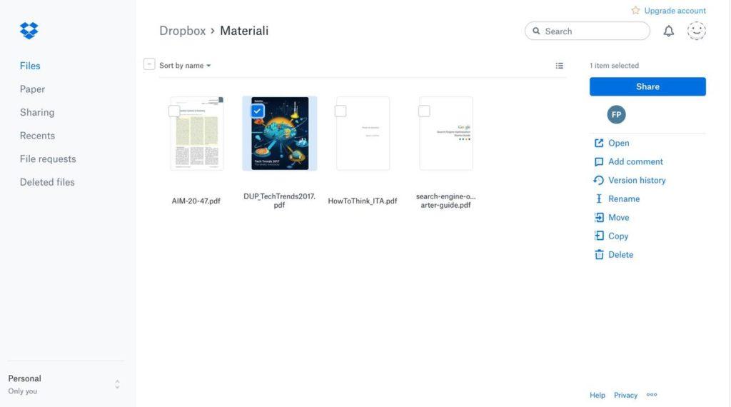 Un esempio della nuova interfaccia di Dropbox