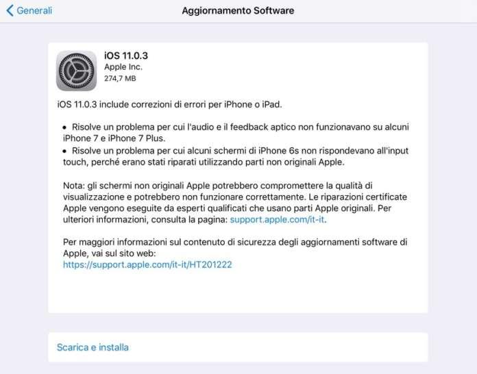 aggiornamento iOS 11.0.3