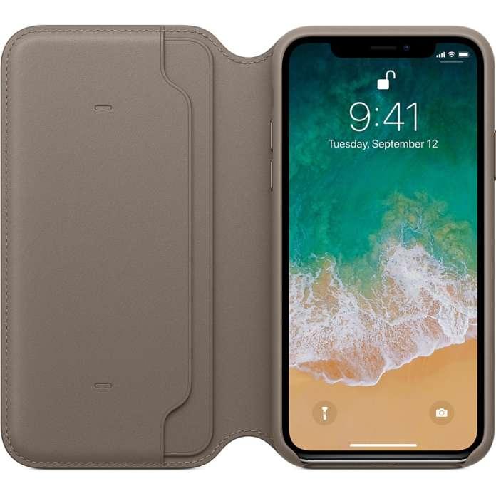 Custodia Folio in pelle per iPhone X