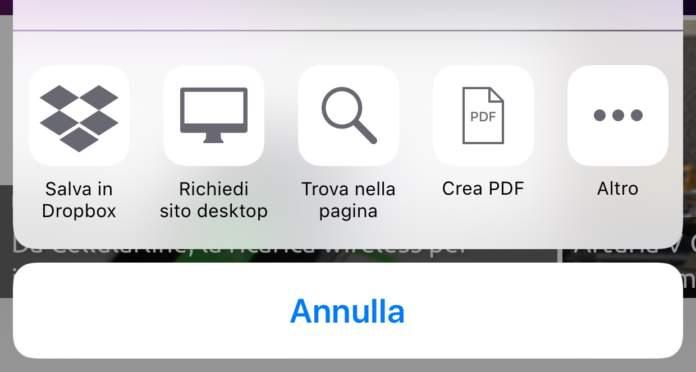 Safari di iOS Trova nella pagina