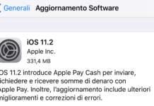 Aggiornamento iOS 11.2