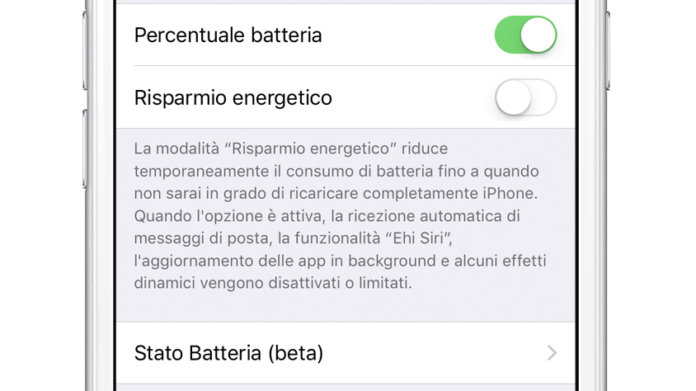 Batteria dell'iPhone iOS 11.3