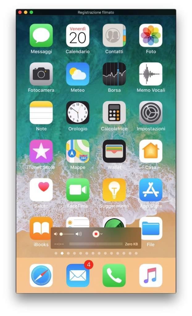 Registrare un video dello schermo dell'iPhone con il Mac