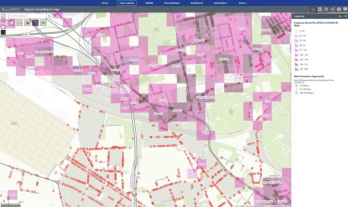 Mappa Agcom connessione a Internet
