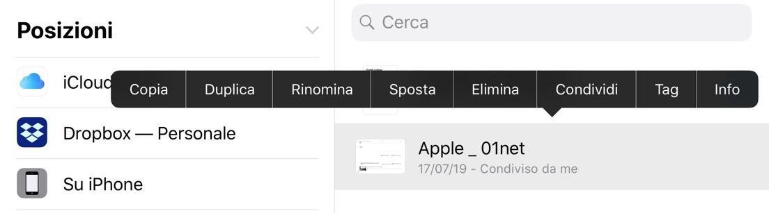 condivisione file di iCloud