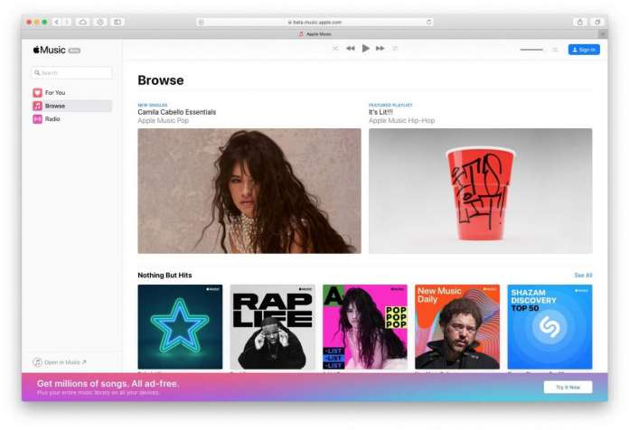 Apple Music arriva anche su browser