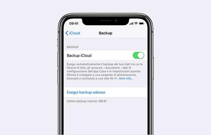 backup di iPhone con iCloud