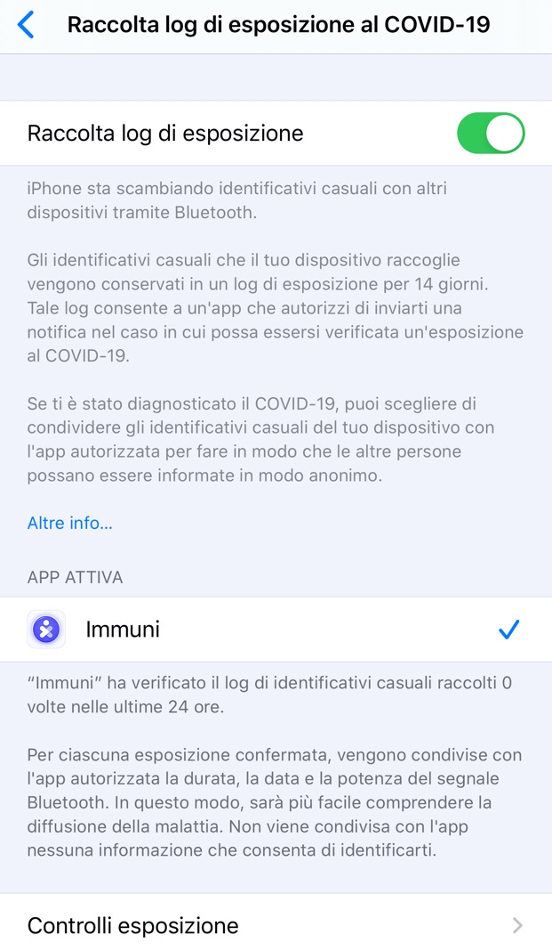 Covid-19 Immuni iPhone