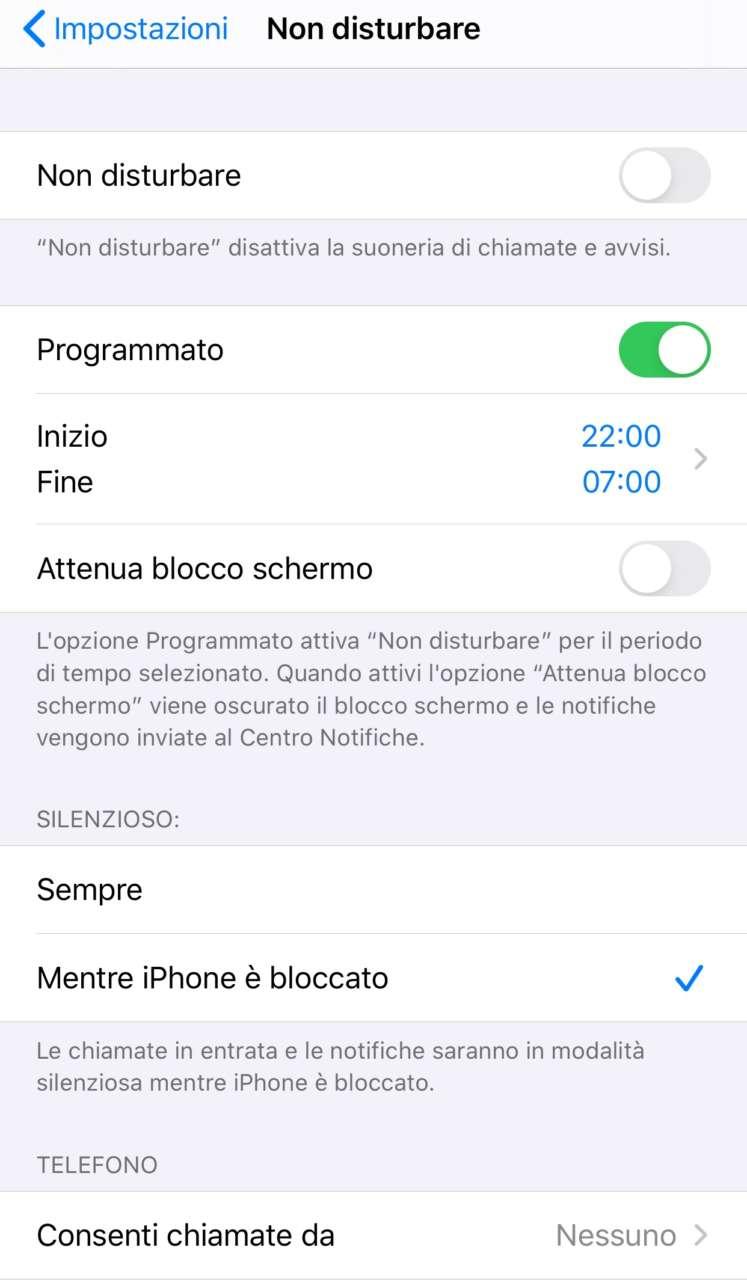 Non disturbare iOS