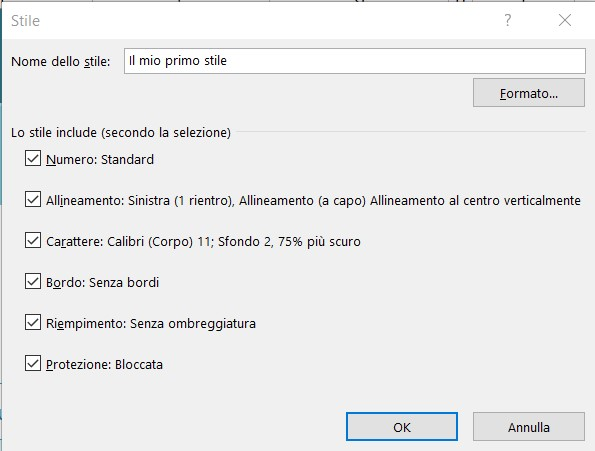 Excel stili cella