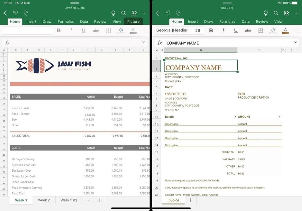 Excel iPad