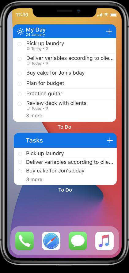 Microsoft To Do widget iOS 14