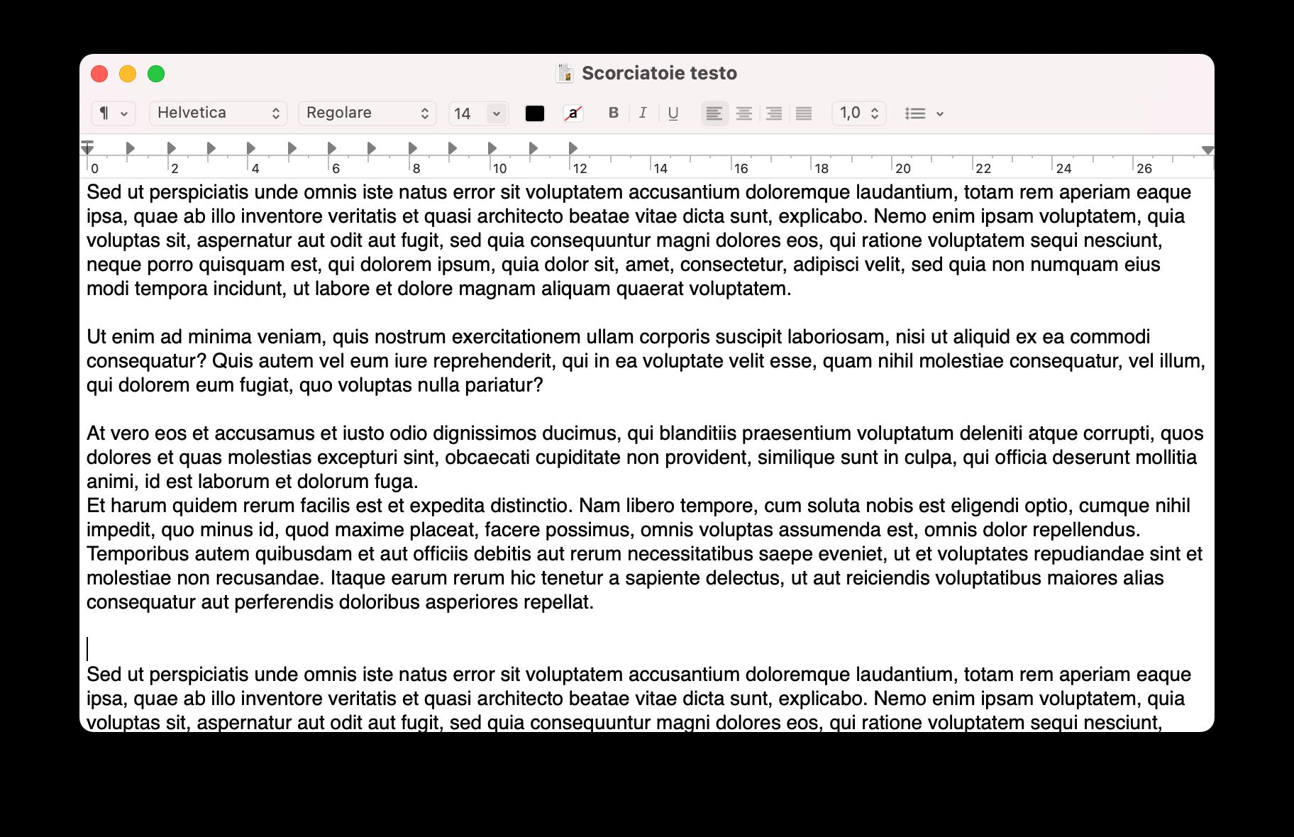 scorciatoie testo Mac