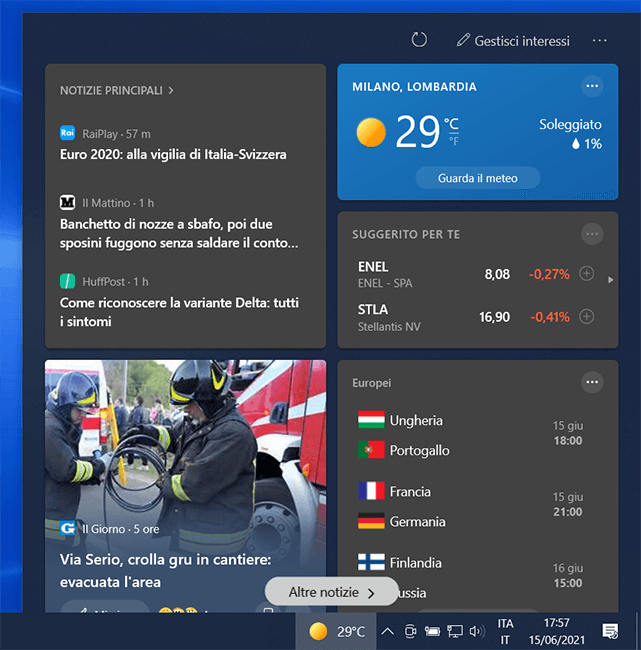Windows 10 Notizie e interessi