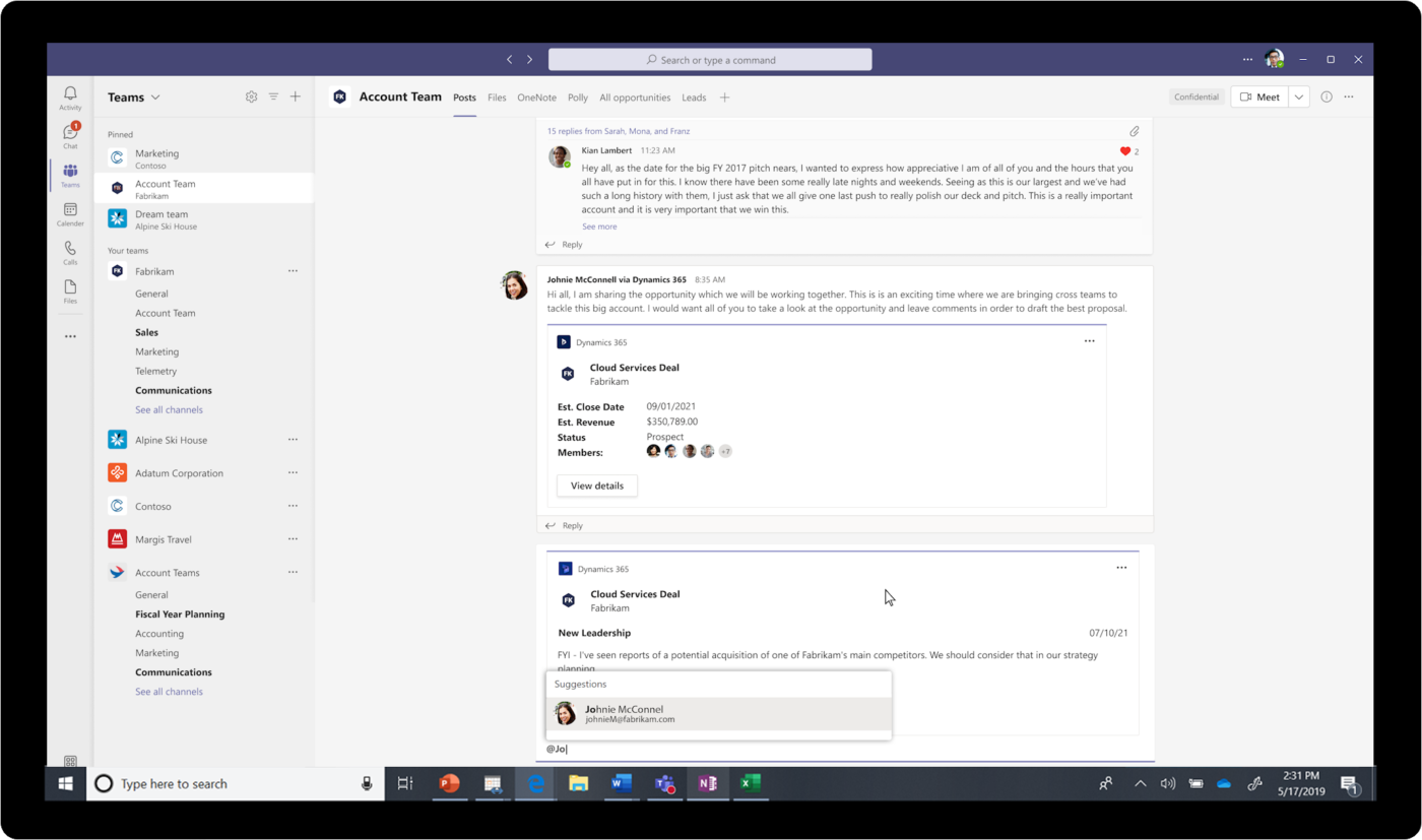 Microsoft Teams e Dynamics 365