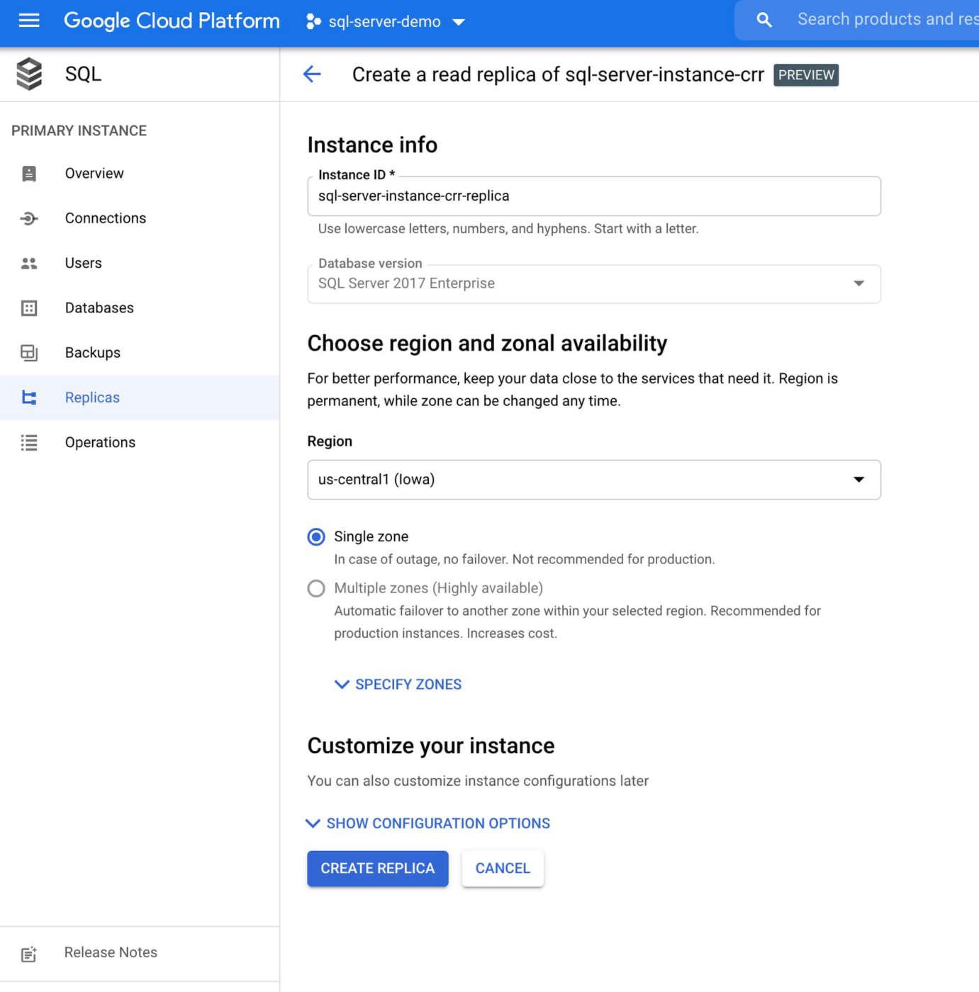 Google Cloud SQL Server