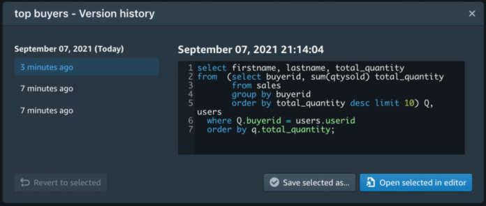 Amazon Redshift Query Editor V2